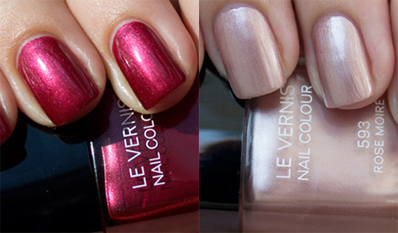 swatch smalti chanel Rouge Moire e Rose Moire