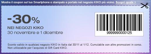 Sconto 30% Kiko Cosmetics per spendere meno in tutti i negozi Kiko