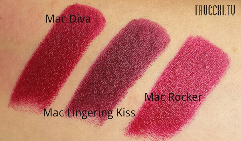swatches mac diva - mac lingering kiss - mac rocker