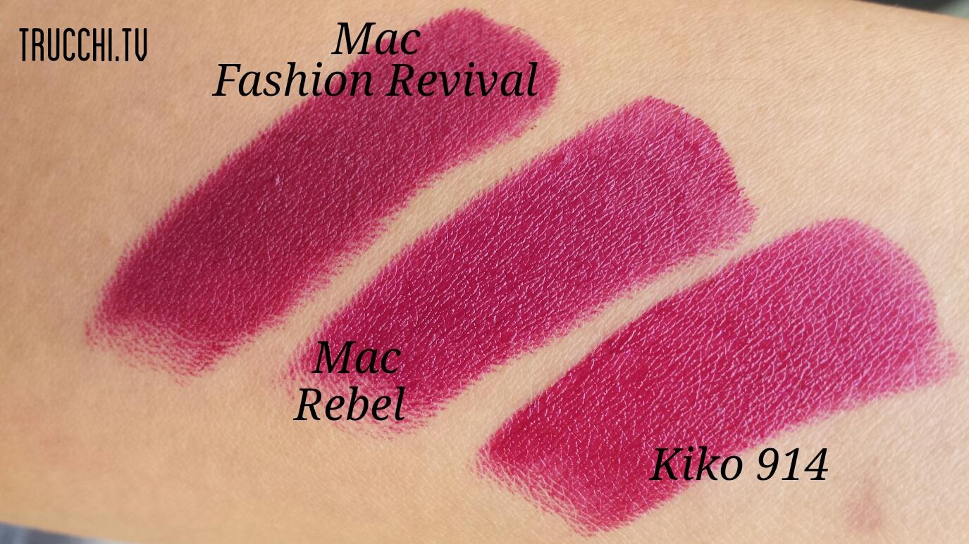 swatches Mac fashion revival mac rebel kiko smart lipstick 914